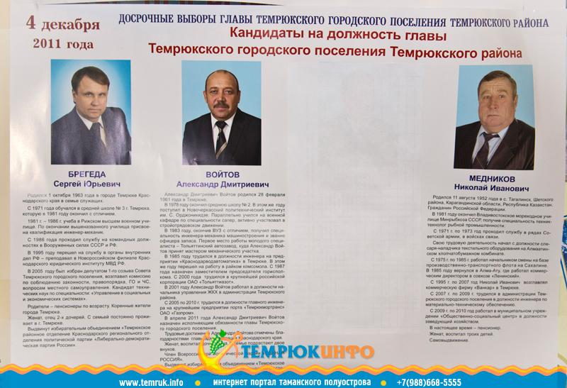 Плакат с кандидатами на пост главы Темрюкского городского поселения 2011
