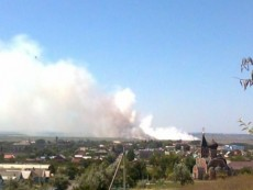 Пожар на свалке в Темрюке
