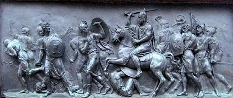 Победа народного ополчения над поляками. Горельеф с памятника Минину и Пожарскому