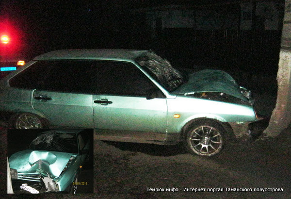 В Темрюкском районе ВАЗ 2109 врезался в столб