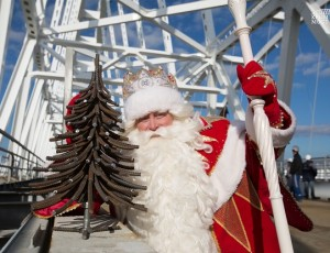 Дед мороз посетил строительство Крымского моста