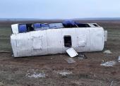 В Темрюкском районе перевернулся вахтовый автобус (Видео)